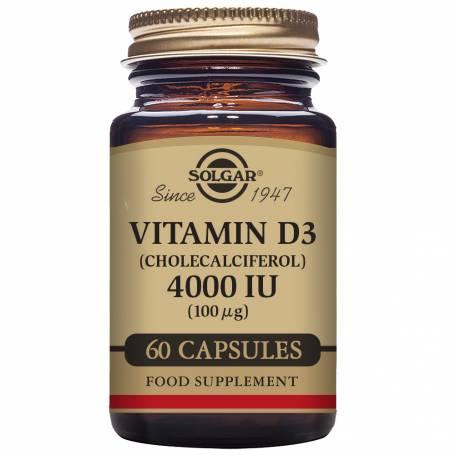 Vitamina D3 4000 UI (100 µg) (Colecalciferol) 60 cápsulas vegetales