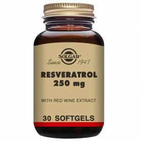 Resveratrol 250 mg. con extracto de vino tinto. 30 cápsulas blandas