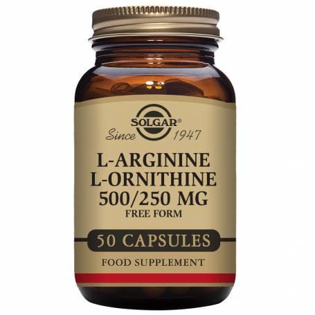 L-Arginina / L-Ornitina 500 mg/250 mg. 50 cápsulas vegetales
