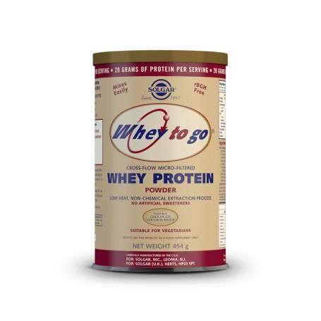 Whey to go proteína de suero en polvo (Chocolate). 454 g