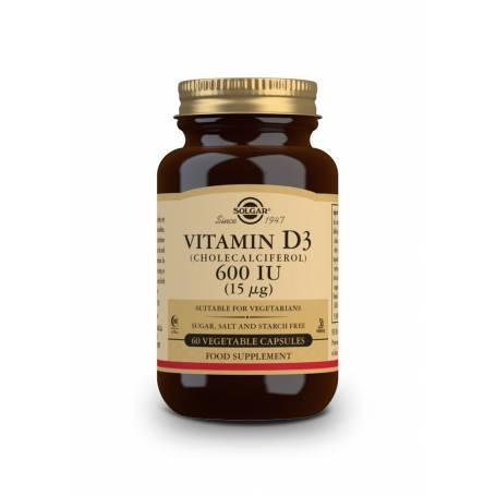 Vitamina D3 600 UI (15 µg) (Colecalciferol). 60 cápsulas vegetales
