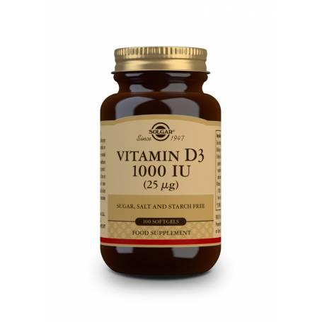Vitamina D3 1000 UI (25 µg) (Aceite Hígado de pescado y Colecalciferol). 100 cápsulas blandas