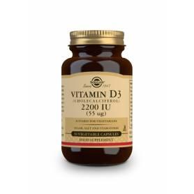 Vitamina D3 2200 UI (55 µg) (Colecalciferol). 50 cápsulas vegetales