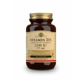 Vitamina D3 2200 UI (55 µg) (Colecalciferol). 100 cápsulas vegetales