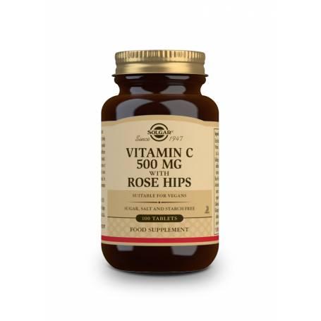 Vitamina C Rose Hips 500 con escaramujo. 100 comprimidos